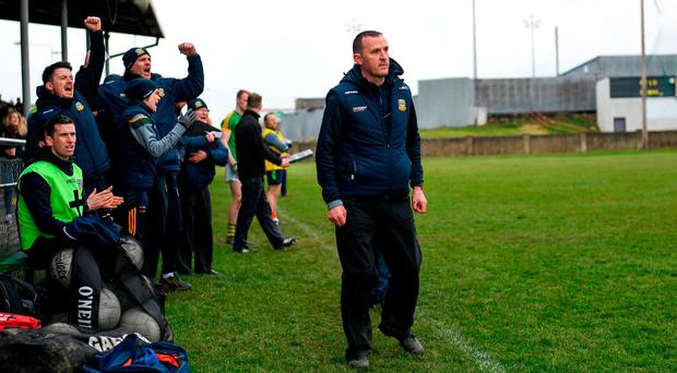 Meath manager Andy McEntee watches on as his side score the only goal of the game in Drogheda. Photo: Ramsey Cardy/Sportsfile