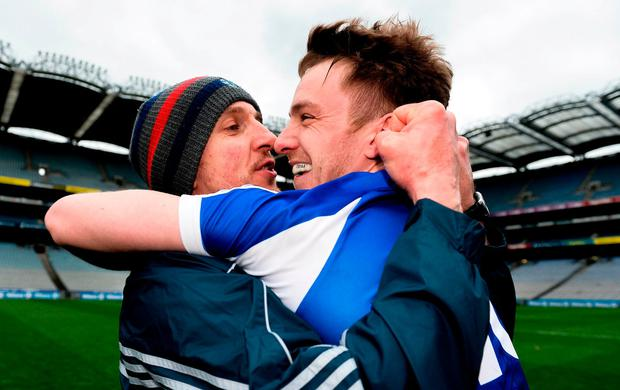 Laois manager John Sugrue and Ross Munnelly celebrate after their victory over Carlow in Croke Park. Photo: Piaras Ó Mídheach/Sportsfile