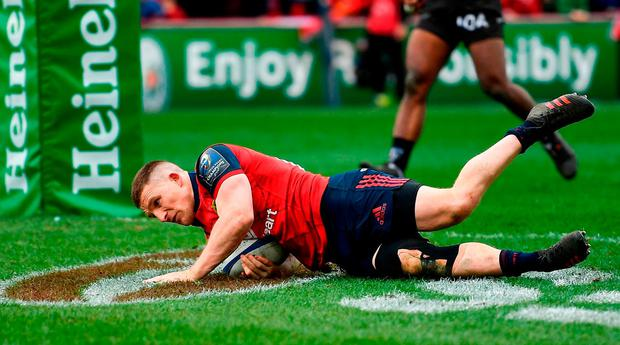 Andrew Conway scores Munster's second try. Photo: Brendan Moran/Sportsfile
