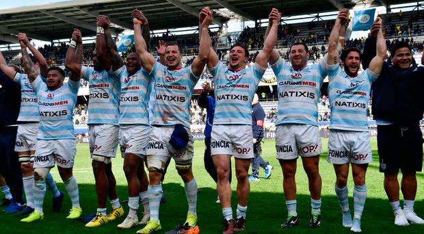 Racing 92's players celebrate after their Champions Cup quarter-final victory over Clermont at the Michelin Stadium in Clermont-Ferrand, France. Photo: AFP/Getty Images
