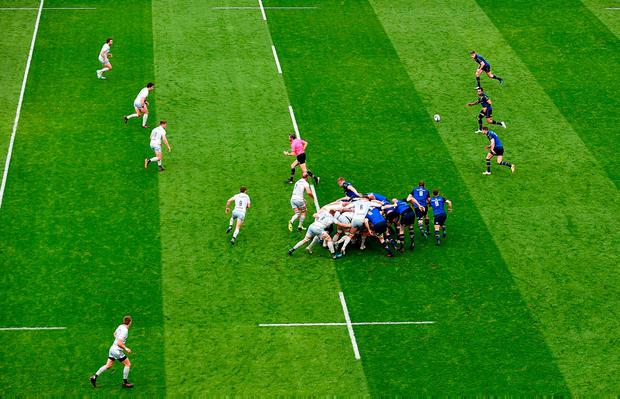 Leinster break away from a scrum during their Champions Cup quarter-final against Saracens at the Aviva Stadium in Dublin. Photo: Sam Barnes/Sportsfile