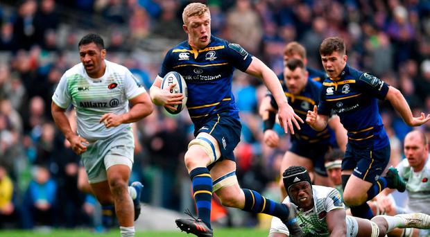 The impressive Dan Leavy powers in to bag Leinster's second try yesterday. Photo: Ramsey Cardy/Sportsfile