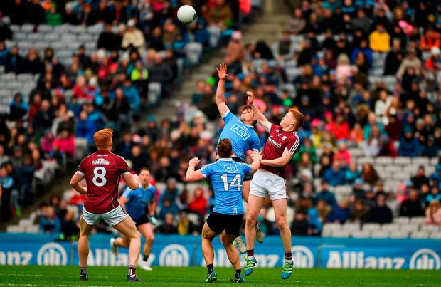 Dublin's Eric Lowndes goes up against Galway's Ciarán Duggan. Photo: Daire Brennan/Sportsfile