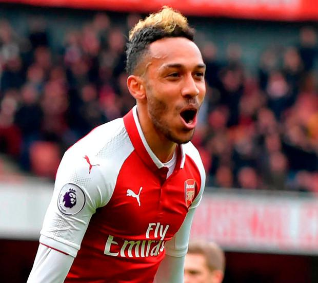 Arsenal's Pierre-Emerick Aubameyang celebrates scoring the team's second goal. Photo: Oliver Greenwood/AFP/Getty Images