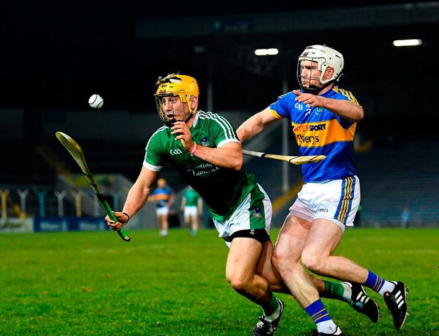 Limerick's Tom Morrissey in action against Tipperary's Brendan Maher. Photo: Stephen McCarthy/Sportsfile