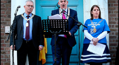 Ger Curtin President ASTI, John Boyle President INTO and Joanne Irwin President TUI who spoke at the Teachers Pay Inequality protest at the Dail on March 7 2018. Photo: Steve Humphreys