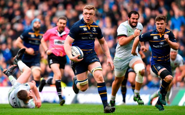 Dan Leavy makes a break during the Champions Cup quarter-final against Saracens at the weekend. Photo: David Fitzgerald/Sportsfile