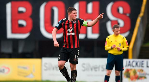 Dan Casey of Bohemians celebrates after scoring the opening penalty. Photo: Tom Beary/Sportsfile