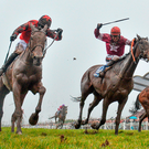 General Principle (second from left, with JJ Slevin up), on the way to winning the BoyleSports Irish Grand National in a thrilling finish at Fairyhouse. Photo: Sportsfile