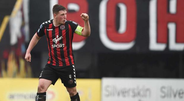 Dan Casey of Bohemians celebrates after scoring the opening penalty in the penalty shootout during the EA SPORTS Cup Second Round match between Bohemians and UCD at Dalymount Park in Dublin. Photo by Tom Beary/Sportsfile