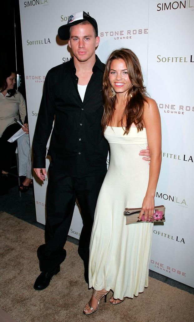 Channing Tatum (L) and Actress Jenna Dewan arrive at the Stone Rose Lounge and Simon LA preview at the newly renovated Sofitel LA Hotel on June 21, 2006 in Los Angeles, California. (Photo by David Livingston/Getty Images for Sofitel)