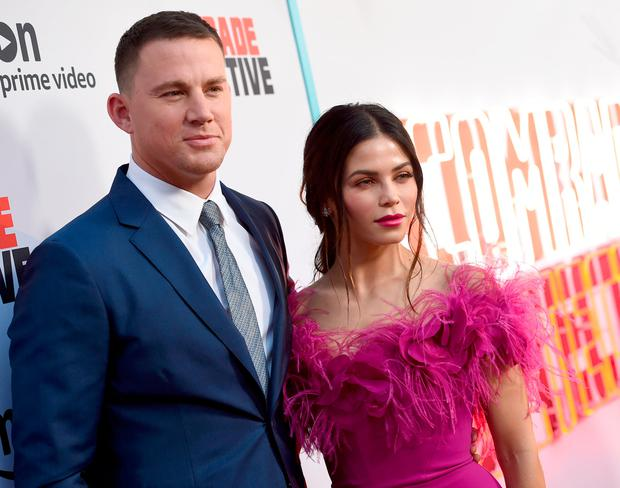 Channing Tatum (L) and his wife Jenna Dewan Tatum arrive at the premiere of Amazon's