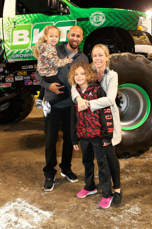 TV Personality Kendra Wilkinson Baskett, Hank Baskett, son Hank and daughter Alijah, attend Monster Jam Celebrity Event at Angel Stadium on February 24, 2018 in Anaheim, California. (Photo by Ari Perilstein/Getty Images for Feld Entertainment)
