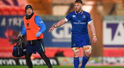 Seán OBrien of Leinster head physiotherapist Garreth Farrell during the Guinness PRO14 Round 17 match between Scarlets and Leinster at Parc Y Scarlets in Llanelli, Wales. Photo by Ramsey Cardy/Sportsfile