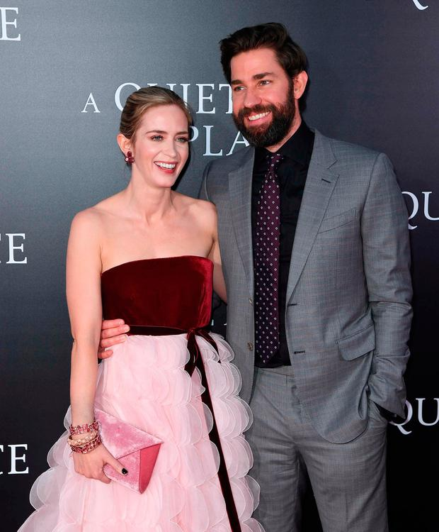Emily Blunt and John Krasinski attend the Paramount Pictures premiere for 'A Quiet Place' at AMC Lincoln Square Theater on April 2, 2018 in New York City. / AFP PHOTO / ANGELA WEISSANGELA WEISS/AFP/Getty Images