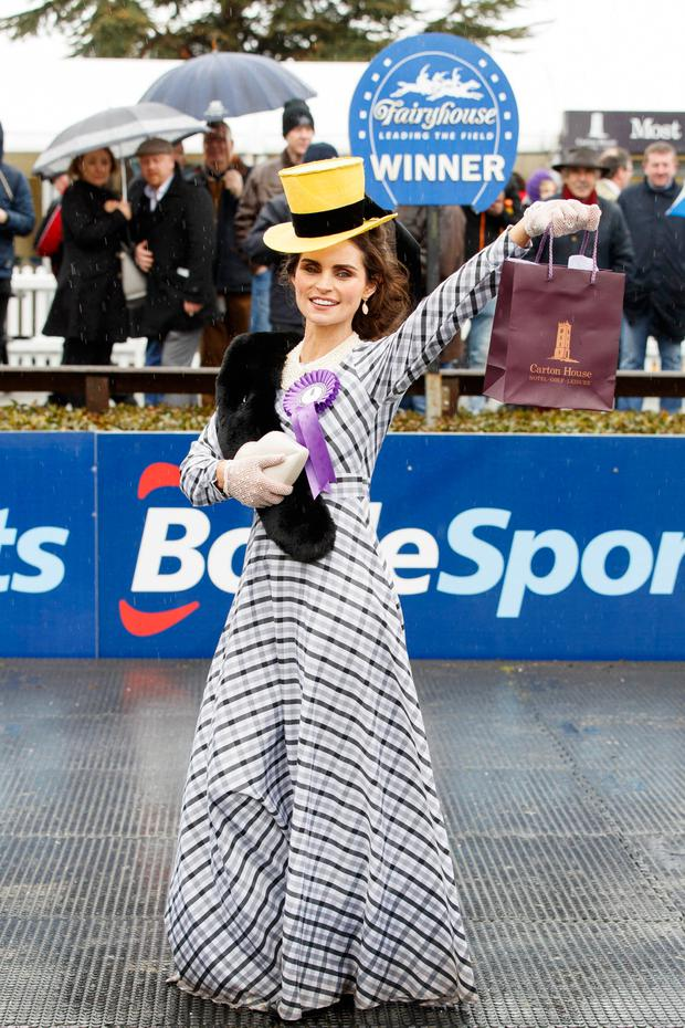 Winner of the Carton House Most Stylish Lady competition Michelle Fallon during the Irish Grand National at Fairyhouse Racecourse, Meath. Picture: Andres Poveda