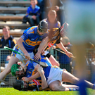 Players from Kilkenny and Tipperary confront each other during the first half of League final in 2009
