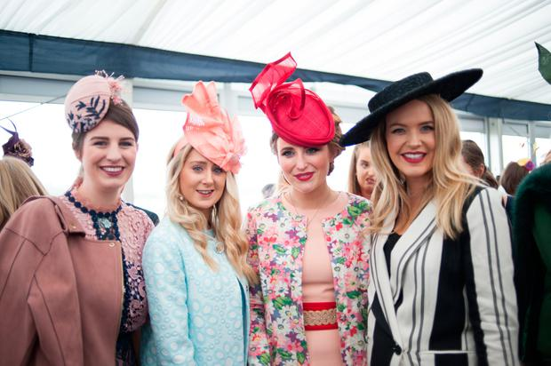 Aoibhin Garrihy with racegoers at Cork Racecourse. Picture: Sean Jeffries