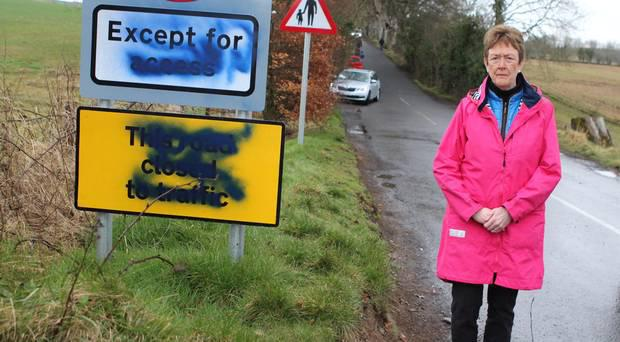 Mayor of Causeway Coast and Glens, Joan Baird, at the graffiti on the new road signs vandalised at the Dark Hedges