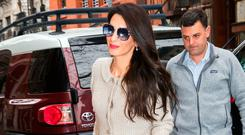 Amal Clooney returns to her apartment on March 29, 2018 in New York City. (Photo by Gotham/GC Images)