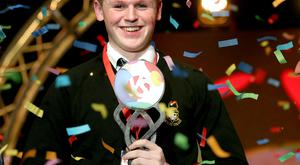 BT Young scientist of the year. Overall winner Shane Curran from Terenure College in Dublin. Picture; Gerry Mooney