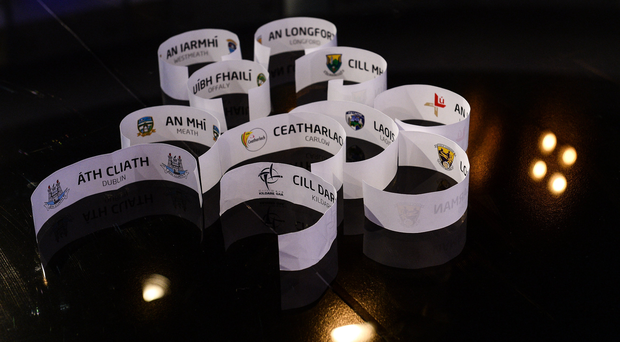 19 October 2017 A general view of the names of the Leinster Football teams after the 2018 GAA Championship Draw at RTÉ Studios in Donnybrook, Dublin. Photo by Piaras Ó Mídheach/Sportsfile
