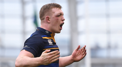1 April 2018; Dan Leavy of Leinster celebrates at the final whistle of the European Rugby Champions Cup quarter-final match between Leinster and Saracens at the Aviva Stadium in Dublin. Photo by Ramsey Cardy/Sportsfile