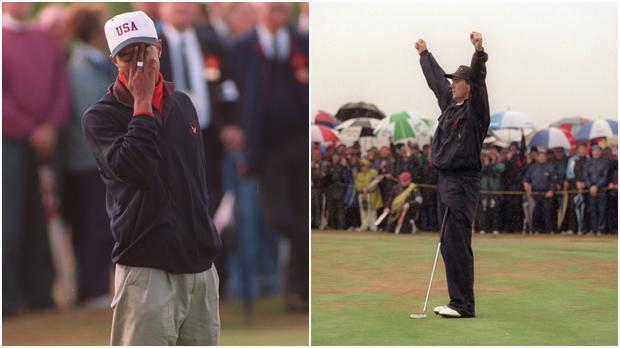 Tiger Woods at the 1995 Walker Cup (left) and Jody Fanagan celebrates winning one of his matches at the tournament (right).
