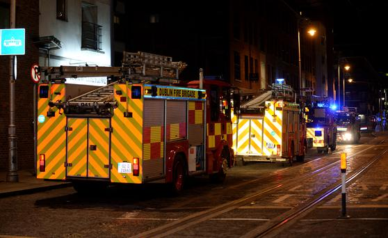 General view of Dublin Fire Brigade at scene of fire off Mayor Street lower, IFSC, Dublin. Picture: Caroline Quinn