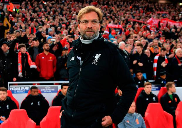 Liverpool manager Jurgen Klopp before the UEFA Champions League quarter final, first leg match at Anfield, Liverpool. Peter Byrne/PA Wire