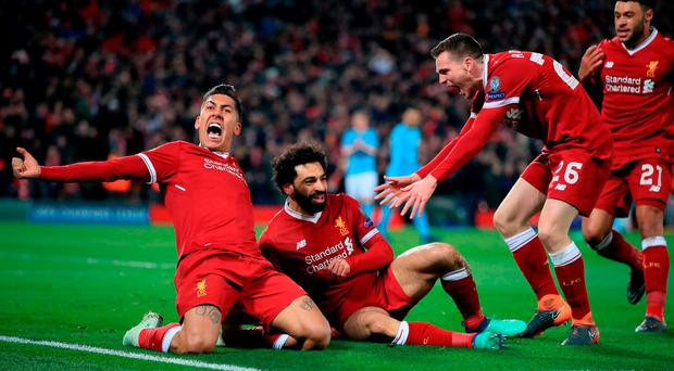 Breathtaking liverpool blow blues away independent mohamed salah centre celebrates with roberto firmino and andy robertson after scoring liverpools first stopboris Gallery