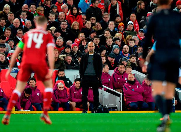 Manchester City boss Pep Guardiola can't hide his dismay on the Anfield sideline last night. Photo: Anthony Devlin/AFP/Getty Images