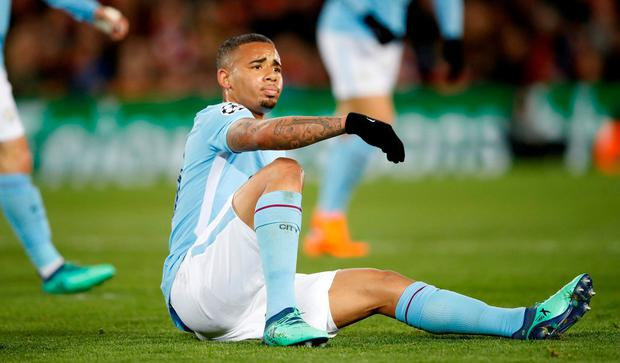 Manchester City's Gabriel Jesus reacts Action Images via Reuters/Carl Recine