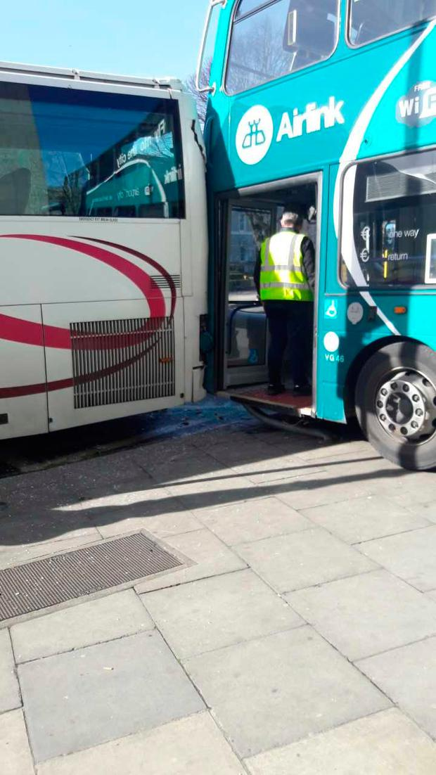 An Airlink collided with another bus this morning at Busaras