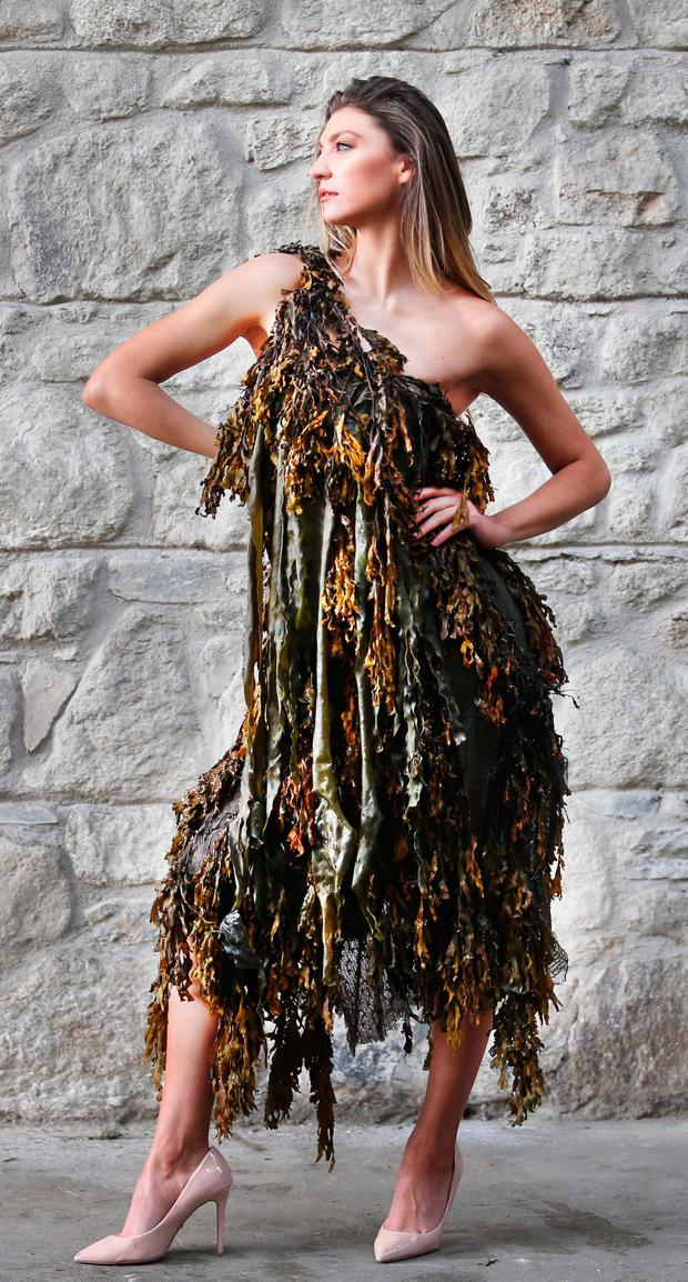 Model Alannah Beirne wearing a seaweed dress with seaweed supplied by Rí na Mara, who supply Aldi with nine seaweed-based beauty products