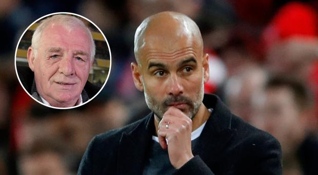 Eamon Dunphy (inset) has questioned Pep Guardiola's ability to deliver Champions League success to Man City