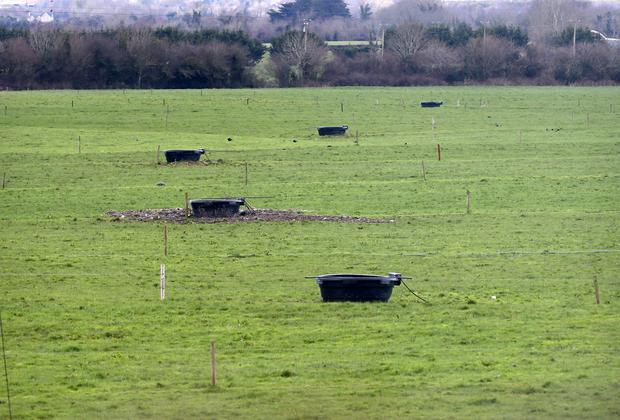Water troughs for cattle lie dormant in a field near Clonaslee Co Laois. Picture Credit:Frank McGrath