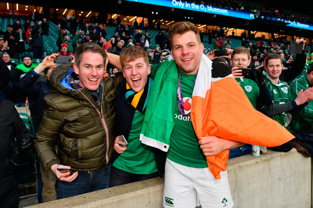 17 March 2018; Jordi Murphy of Ireland celebrates with supporters following the NatWest Six Nations Rugby Championship match between England and Ireland at Twickenham Stadium in London, England. Photo by Ramsey Cardy/Sportsfile