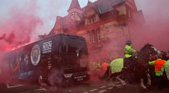 ATTACK: City team bus arriving at Anfield on Wednesday. Photo: Reuters