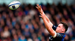 Leinster's James Ryan claims a lineout against Saracens at the Aviva Stadium last Sunday. Photo: Sportsfile