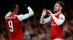 Soccer Football - Europa League Quarter Final First Leg - Arsenal vs CSKA Moscow - Emirates Stadium, London, Britain - April 5, 2018 Arsenal's Aaron Ramsey celebrates with Alexandre Lacazette after scoring their third goal REUTERS/Eddie Keogh