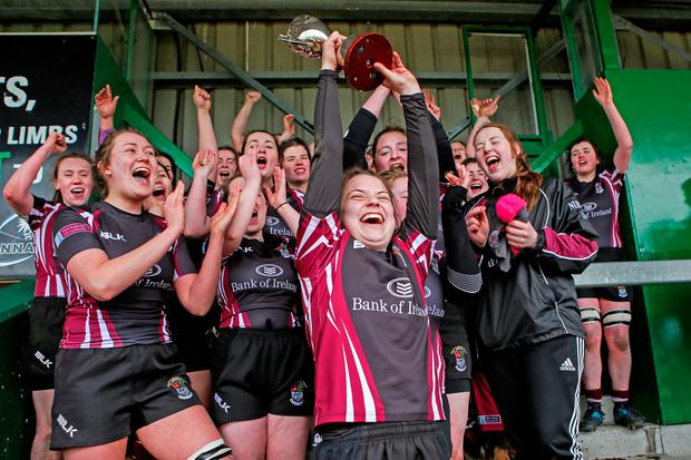 NUIG players celebrate their Connacht cup final. Photo: ©INPHO/Laszlo Geczo