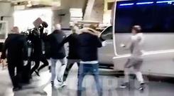 Still from a video showing Conor McGregor and his entourage involved in an incident after a UFC event at the Barclays Center in Brooklyn, New York