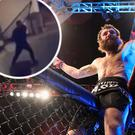 Michael Chiesa and (inset) Conor McGregor appears to throw a trolly at the bus