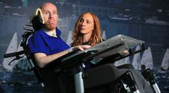 Andrew O'Malley, who was left paralysed after a gym accident, pictured with his sister Emma McCabe Picture: Gerry Mooney