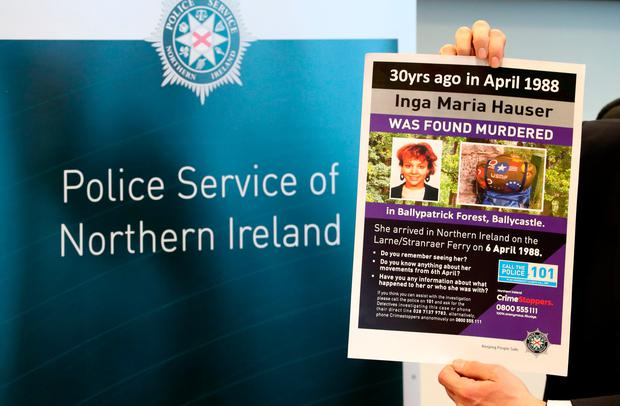 Police Service of Northern Ireland Detective Chief Superintendent Raymond Murray makes an appeal at the Cairnryan Ferry Terminal, in Dumfries and Galloway, on the 30th anniversary of Inga Maria Hauser murder asking the people of Scotland for help with a line of enquiry. Photo: Jane Barlow/PA Wire