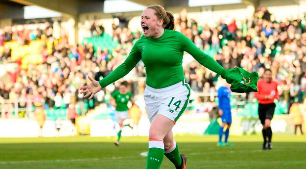 Amber Barrett of Republic of Ireland celebrates after scoring her side's winning goal during the 2019 FIFA Women's World Cup Qualifier match between Republic of Ireland and Slovakia at Tallaght Stadium in Tallaght, Dublin. Photo by Stephen McCarthy/Sportsfile
