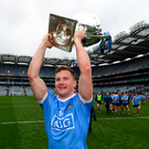 Ciaran Kilkenny with the trophy after Dublin's Allianz Division 1 league final win over Galway. Photo: Sportsfile