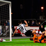 Robbie Benson scores Dundalk's first goal at Oriel Park despite the efforts of Shamrock Rovers goalkeeper Kevin Horgan. Photo: Seb Daly/Sportsfile