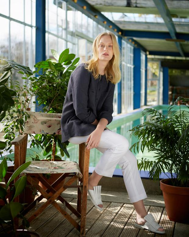 Charcoal linen shirt, €69, also available in white, tailored white cotton trousers, €69, also available in navy, leather ruffle sandal, €89, available April 12